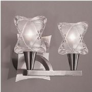 Rosa Double Wall Light in Satin Chrome with Stylish Glass Shades, Switched - MANTRA M0052SC/S